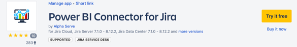 DEMICON - Power BI Connector for Jira can also be downloaded directly from the Atlassian Marketplace