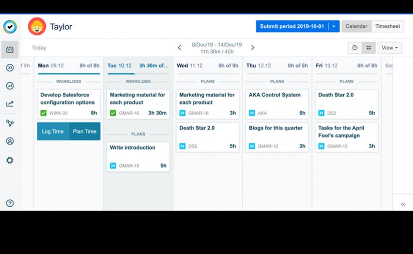 Tempo Planner – Übersicht der Planungs- und Arbeitszeiten eines Team-Mitglieds