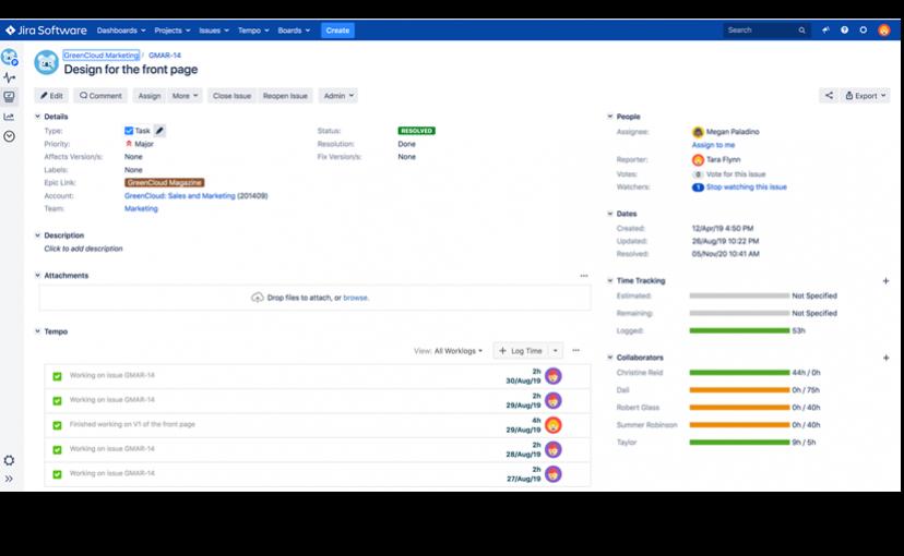 Tempo Planner – Übersicht eines Issues inklusive Planungszeiten